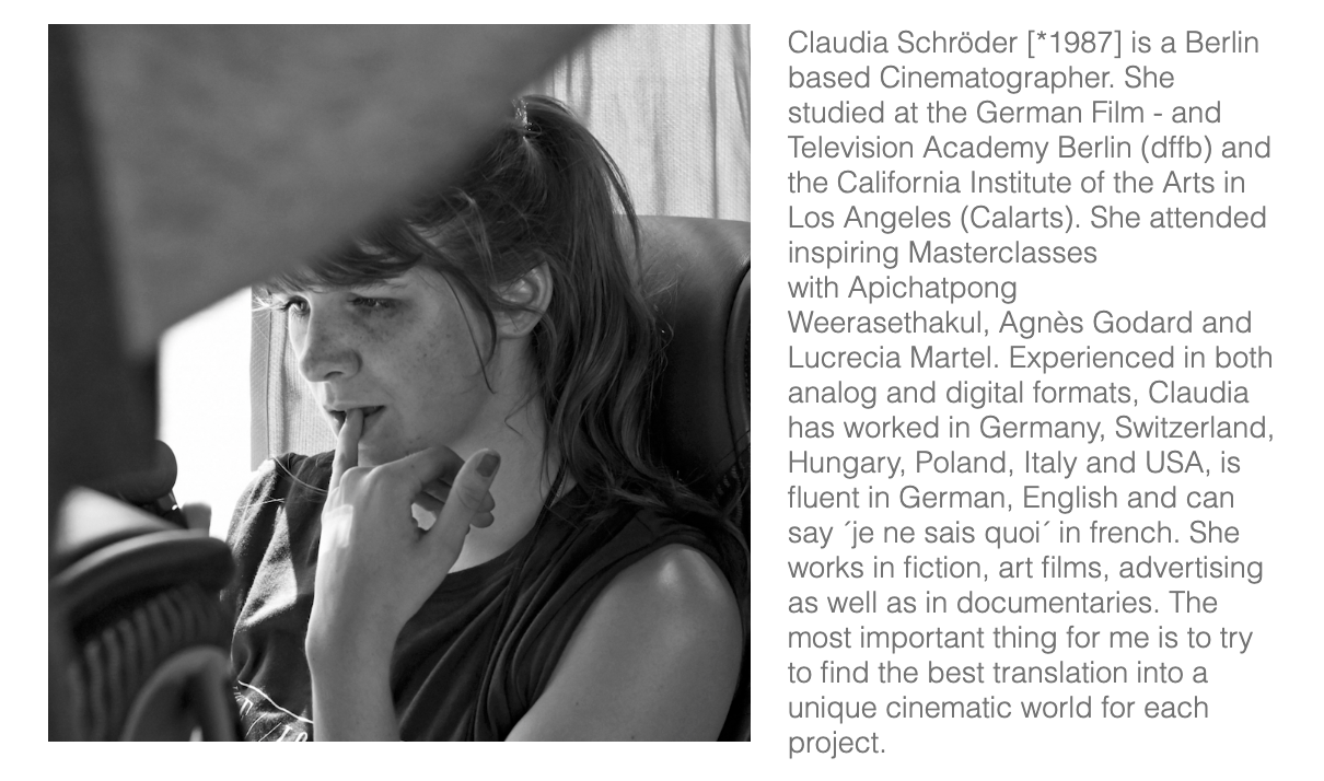 CLAUDIA SCHRÖDER | CINEMATOGRAPHER ABOUT